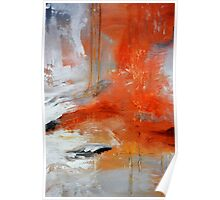 Red Orange Abstract Print  Poster