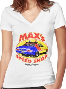 Mad Max's Speed shop Women's Fitted V-Neck T-Shirt