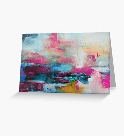 Aqua Pink Abstract Print from Original Painting  Greeting Card