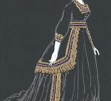 mourning dress with gold trim by purplestgirl