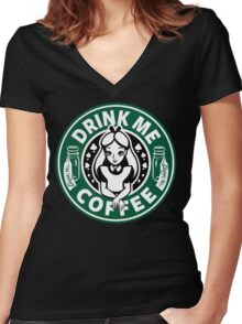 Drink Me Coffee Women's Fitted V-Neck T-Shirt