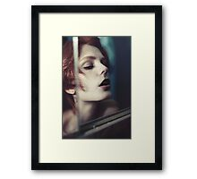 Echo Fashion - fashion portrait beautiful perfect proud woman cute girl vintage red Framed Print