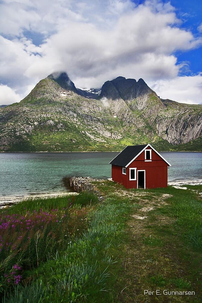 Little red boathouse by Per E. Gunnarsen