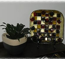 Checker Effect Platter by Kaz Rhoads
