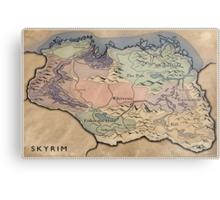 Map Skyrim Metal Print
