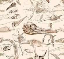 Marine Reptile Engravings Brown by palaeoplushies
