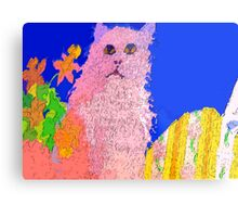 Pink cat on a patio table Metal Print