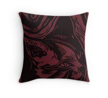 Linocut Portrait of a Cat Throw Pillow