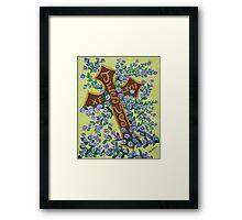 Jesus, He Lives!  Cross for Easter, baptism, first communion  Framed Print