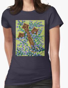 Jesus, He Lives!  Cross for Easter, baptism, first communion  Womens Fitted T-Shirt