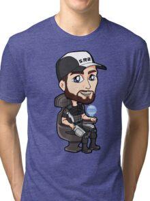 Mass Effect - Jeff Joker Moreau Normandy Pilot with EDI Chibi Sticker Tri-blend T-Shirt