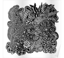 Under The Sea #2 black and white doodle art Poster