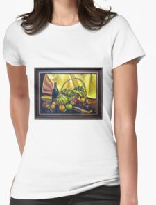Still Life with Basket Womens Fitted T-Shirt