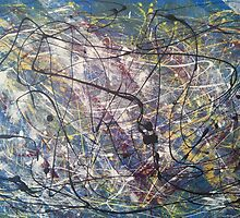 A blue Jackson Pollock-inspired painting by TheBlueline
