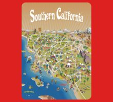 Sunny Cartoon Map of Southern California Kids Clothes