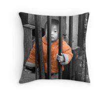 Street Boy in Shanghai Throw Pillow