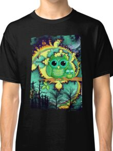 Owls in a magical blue moon night Classic T-Shirt