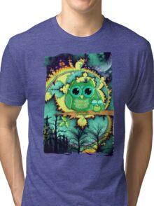 Owls in a magical blue moon night Tri-blend T-Shirt