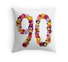 90th Flowers Throw Pillow