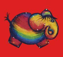 Rainbow Elephant Tshirt One Piece - Short Sleeve