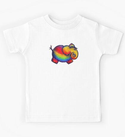 Rainbow Elephant Tshirt Kids Tee