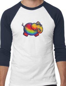 Rainbow Elephant Tshirt Men's Baseball ¾ T-Shirt