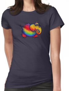 Rainbow Elephant Tshirt Womens Fitted T-Shirt