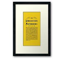 Lorenzo Von Matterhorn - Yellow Framed Print