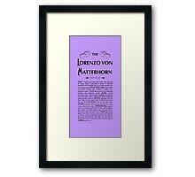 Lorenzo Von Matterhorn - Purple Framed Print