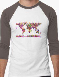 World Map Music Notes Men's Baseball ¾ T-Shirt