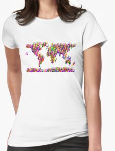 World Map Music Notes Womens Fitted T-Shirt