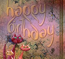 vector cat birthday card by pentangled
