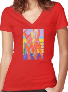 Beach Shower  Women's Fitted V-Neck T-Shirt
