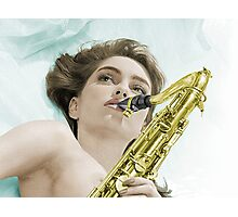 Donna's sax Colourised Photographic Print