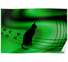 "<º))))>< CAT PRINTS "" Now which Line do i follow?? <º))))><  Poster"