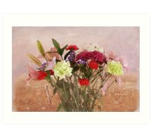 Painting of a Bouquet in a Window Art Print