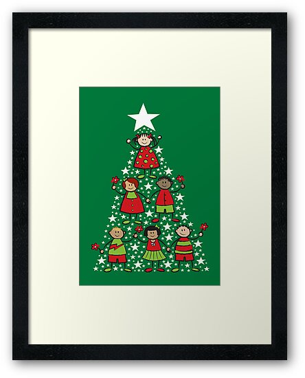 Christmas Tree Kids and Sparkling Stars by fatfatin