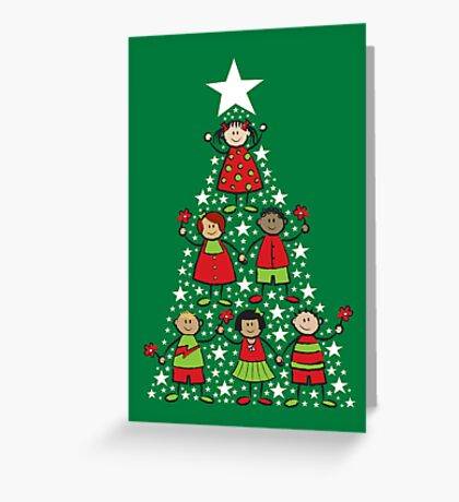 Christmas Tree Kids and Sparkling Stars Greeting Card