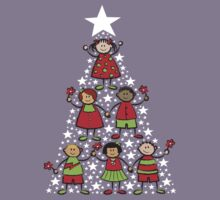 Christmas Tree Kids T-shirt by fatfatin