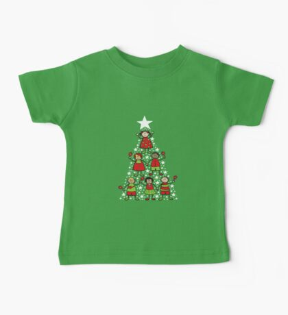 Christmas Tree Kids and Sparkling Stars Baby Tee
