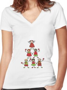 Christmas Tree Kids and Sparkling Stars Women's Fitted V-Neck T-Shirt