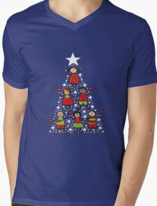 Christmas Tree Kids and Sparkling Stars Mens V-Neck T-Shirt