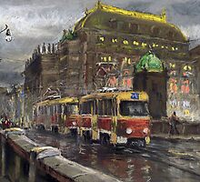 Prague Tram Bridge Legii National Theatre by Yuriy Shevchuk