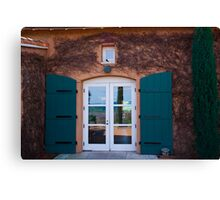 Shuttered Doorway Reflections, Viansa Winery, California Canvas Print
