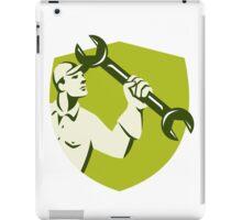 Mechanic Wielding Spanner Wrench Shield Retro iPad Case/Skin