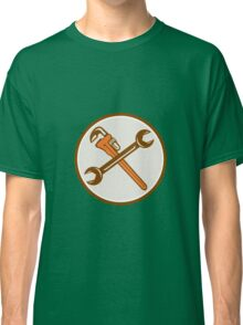 Spanner Monkey Wrench Crossed Circle Retro Classic T-Shirt