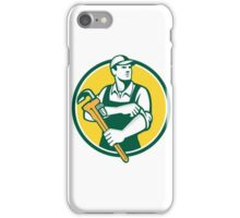 Plumber Holding Monkey Wrench Rolling Sleeve Retro iPhone Case/Skin