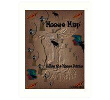 Funny Moose Map Art Print