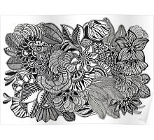 Kuntuman #1 black and white doodle art Poster