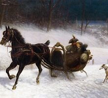 Jan Van Chelminski (Polish, 1851-1925)  A sleigh Ride by Adam Asar